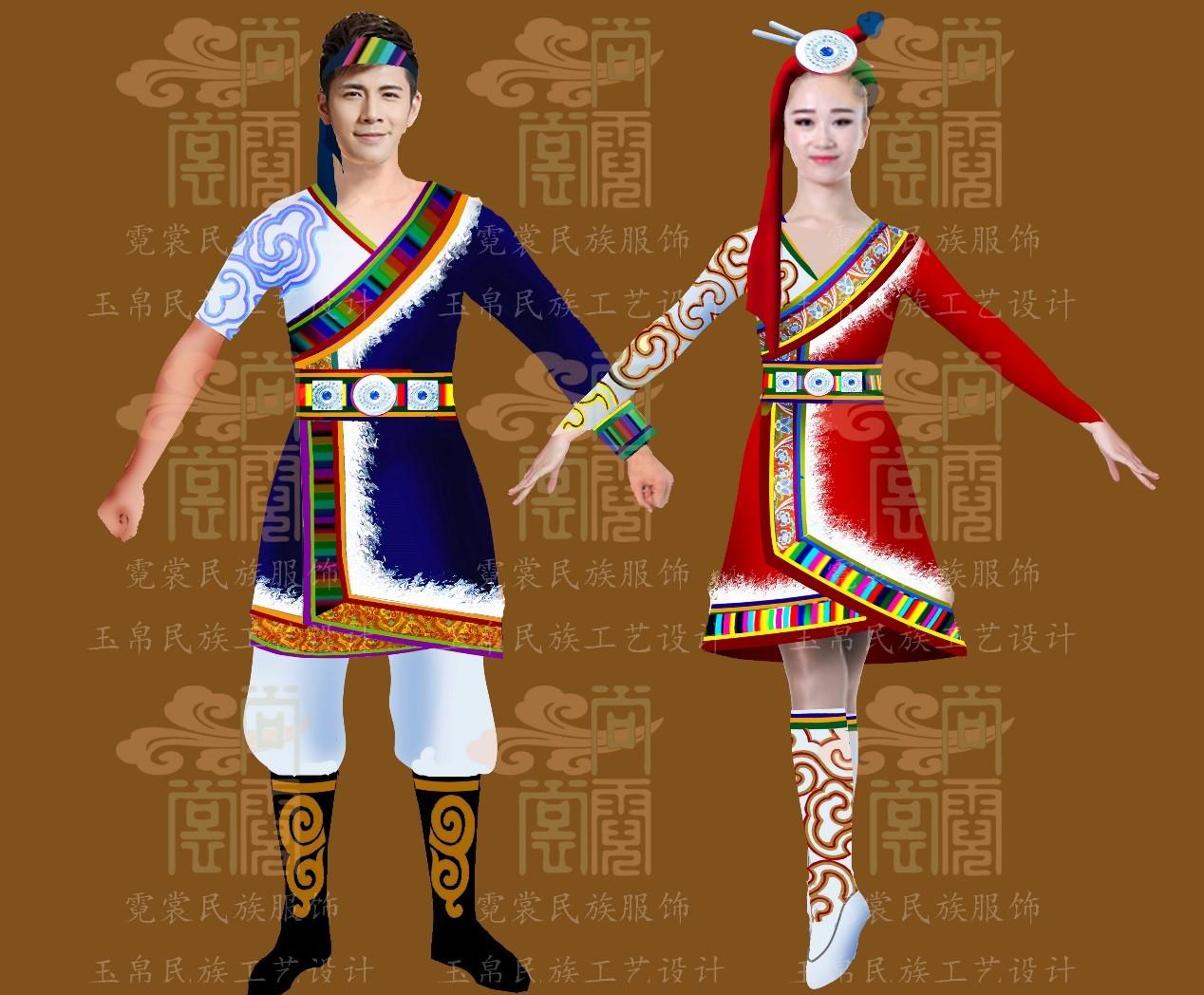 中美篮球对抗赛藏族健美操表演服装设计稿