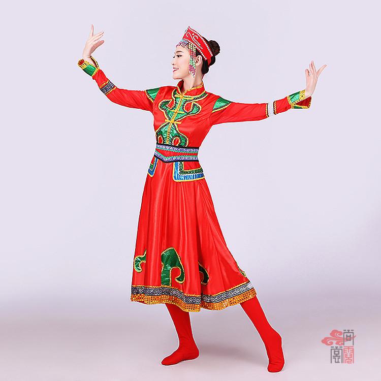 红色裙子蒙古族服装4