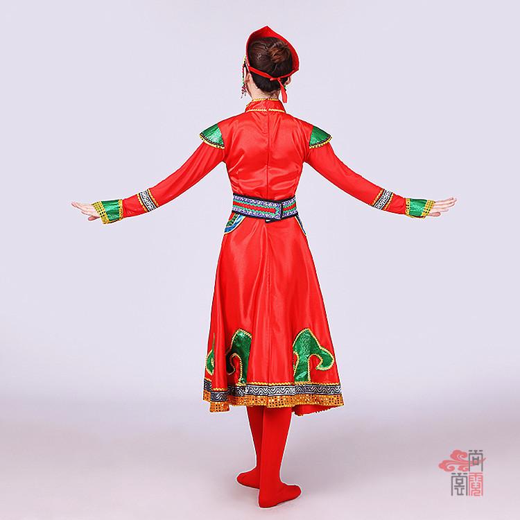 红色裙子蒙古族服装5