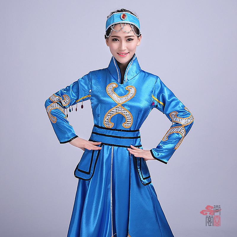 蓝色裙子蒙古族服装1