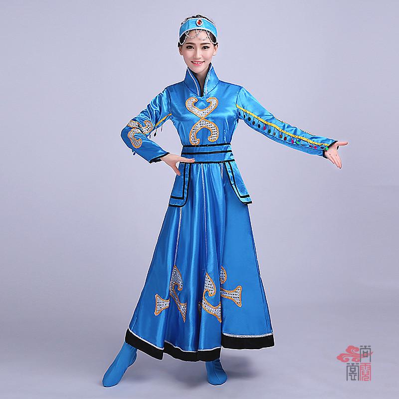 蓝色裙子蒙古族服装2