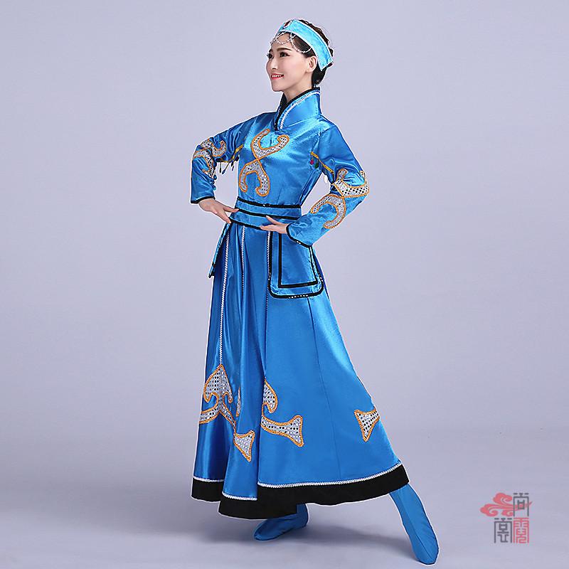 蓝色裙子蒙古族服装3