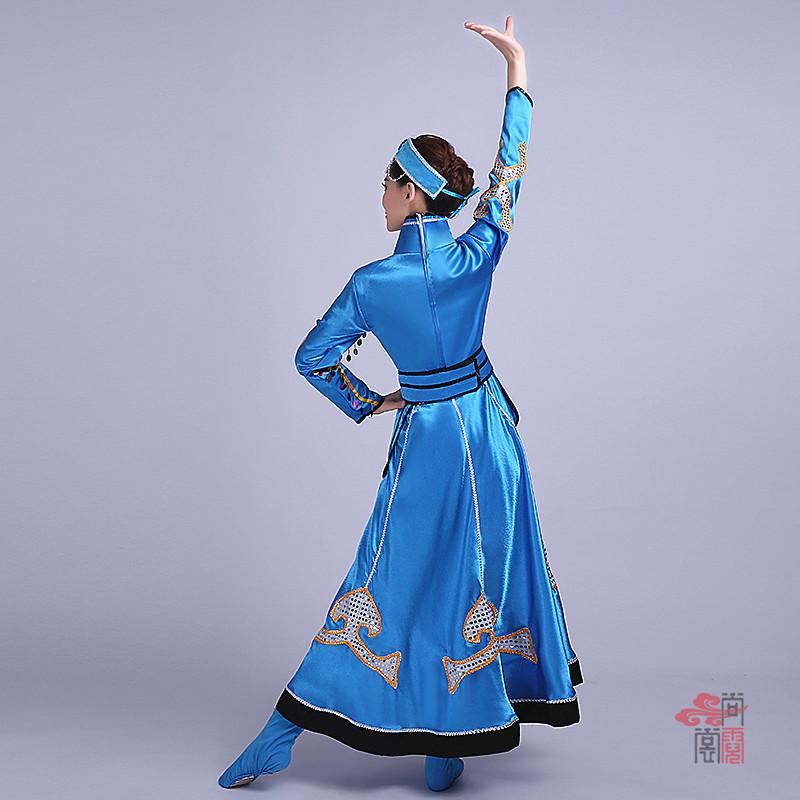 蓝色裙子蒙古族服装4