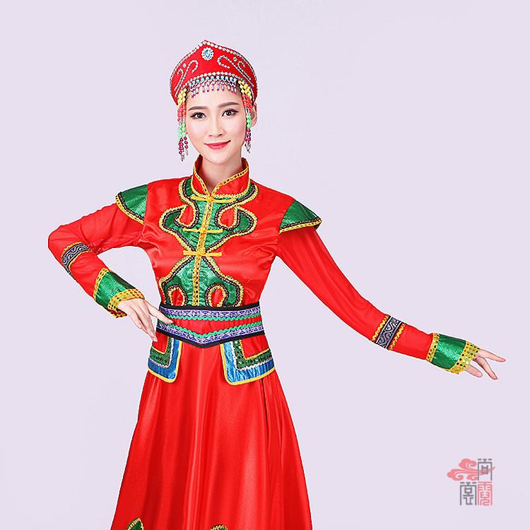 红色裙子蒙古族服装1