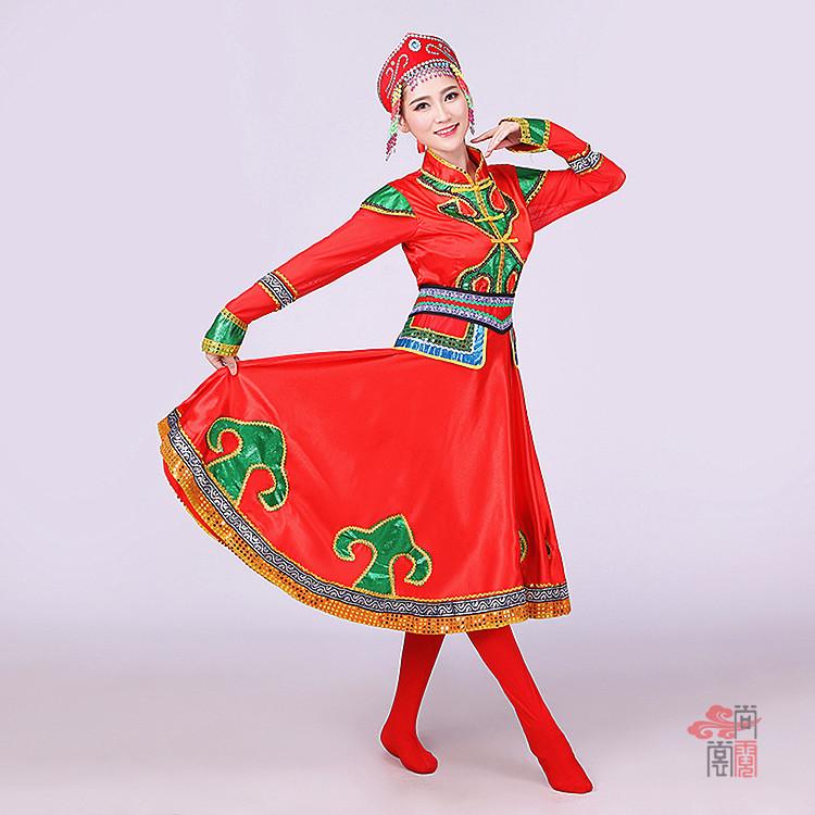 红色裙子蒙古族服装2