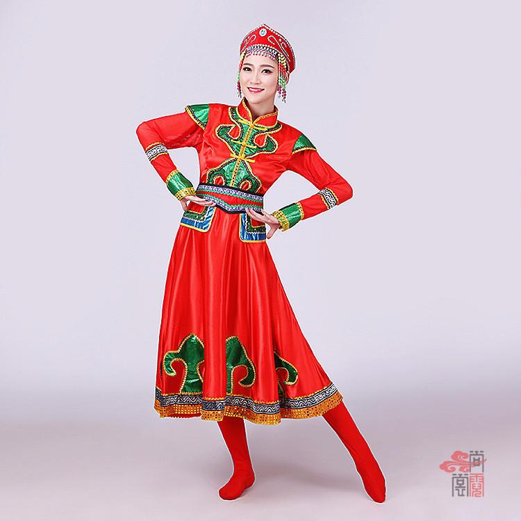 红色裙子蒙古族服装3
