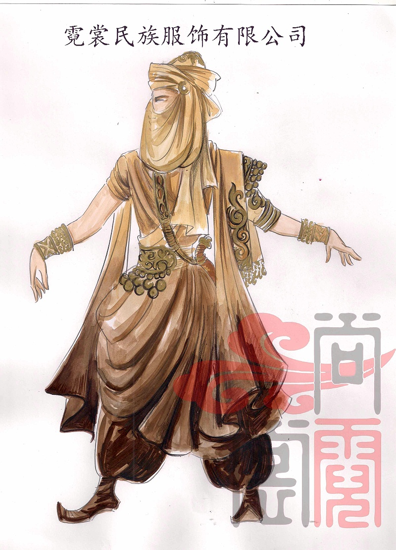 阿拉伯商隊舞蹈服裝設計圖圖片