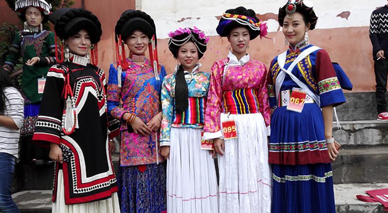 摩梭族服饰、彝族服饰、普米族服饰