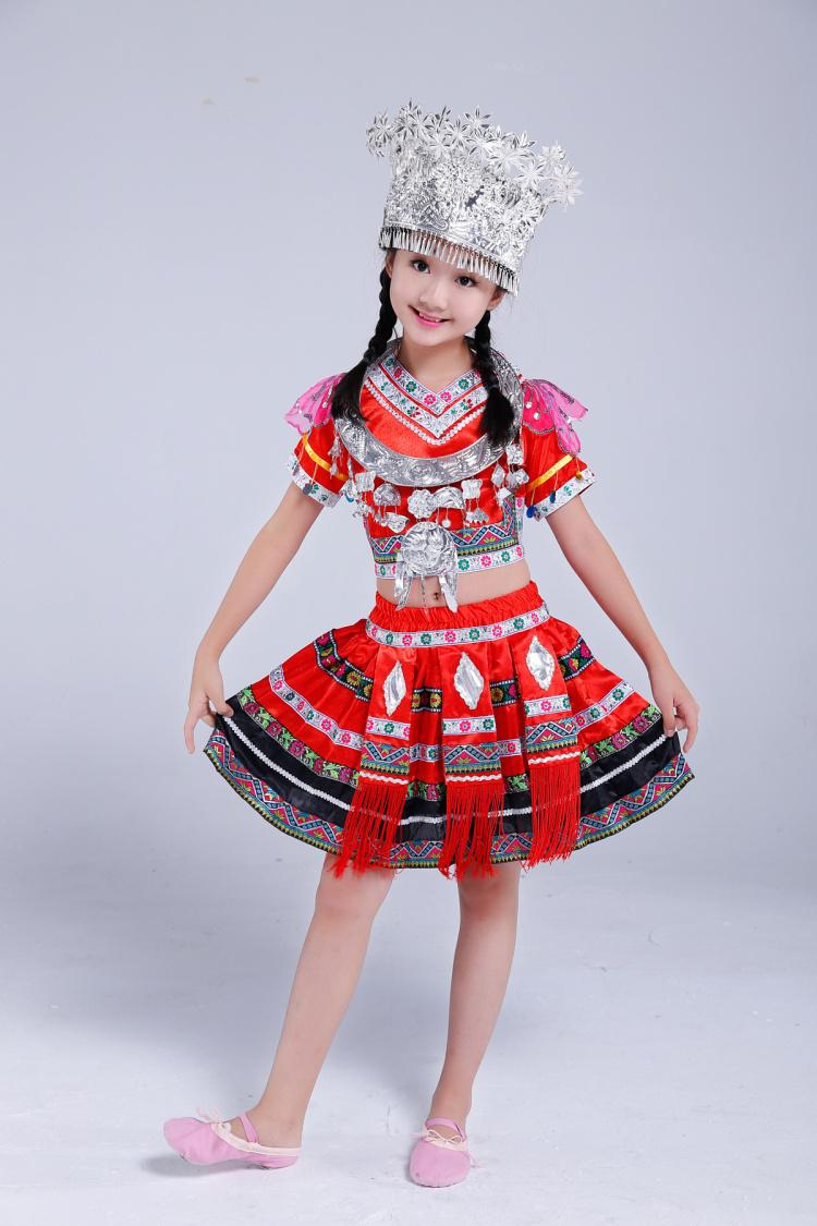 儿童苗族服装图片裙子款1