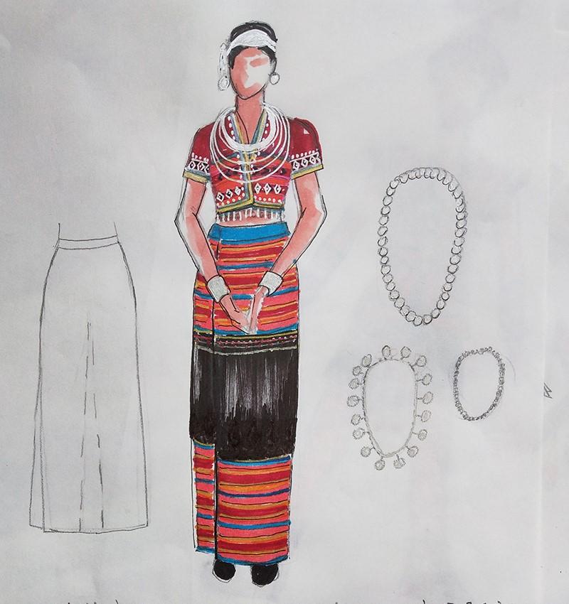 设计的登人女性民族服装